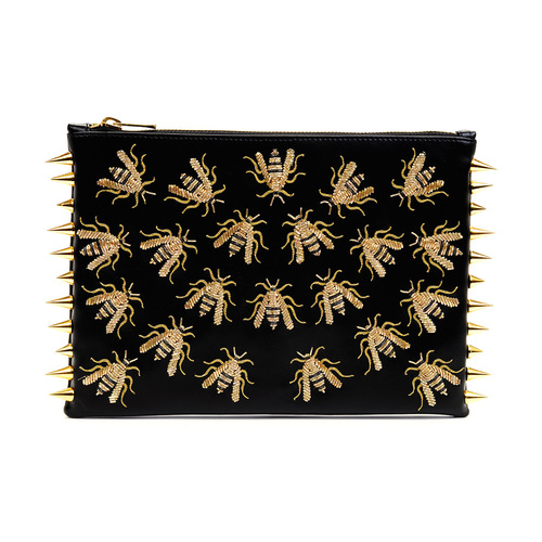 Gold Wasp Studded Clutch from FashionKind - Off-putting yet completely alluring, this wasp encrusted clutch is not only vegan, but its creation also generates fair wages and dignified work to male artisans in Lucknow, India