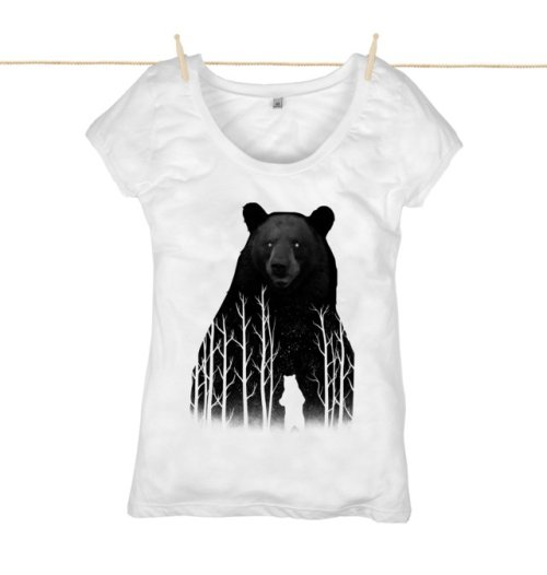 Bear Top by Rapanui - It definitely feels like this image should be connected with a surreal and moving story! This 100% organic cotton tee was made in an ethically accredited, wind-powered factory