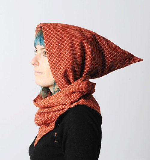 Brick Red Hooded Scarf by Malam - I adore this whimsical hooded scarf handmade from brick red checkered vintage wool
